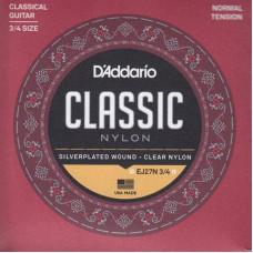 D'ADDARIO EJ27N-3/4 струны для классической гитары, размер 3/4 Normal Tension