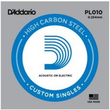 D'Addario PL010 PLAIN STEEL Отдельная стальная струна без обмотки 0.010